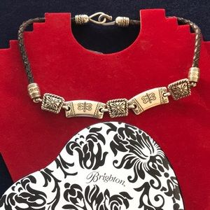 Brighton braided leather necklace with tin